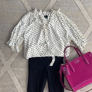 Who What Wear Off White Dotted Blouse - M